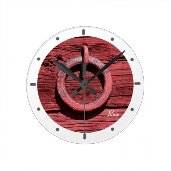 Rustic Rural Red Wood Iron Ring Clock White | Zazzle