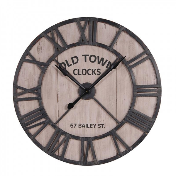 rustic wood metal old town wall clock rustic wood metal old town wall ...