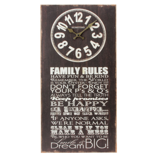 Family Rules Portrait MDF Wall Clock Typography