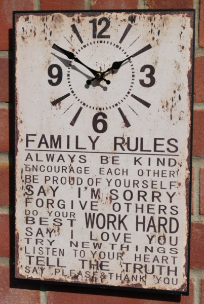 Details about Retro style distressed tin wall clock - Family rules....