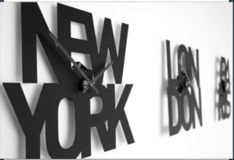 Set of 3 typographic city time zone wall clocks - New York, London ...
