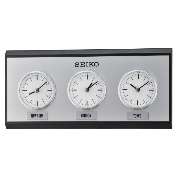 Seiko 3-City World Time Wall Clock - 13.75 in. Wide - Wall Clocks at ...