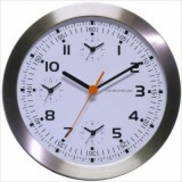Kirch Metal Wall Clock with Extra Three Time Zone