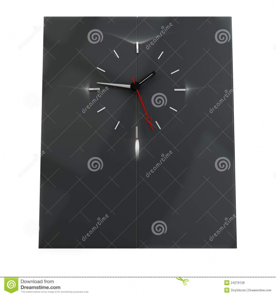 3d Time Wall With Clock Royalty Free Stock Photos - Image: 24276128