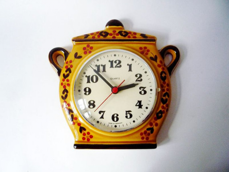 ... for Ambrose - Vintage Ceramic Wall Clock Pot Shaped Made in Germany