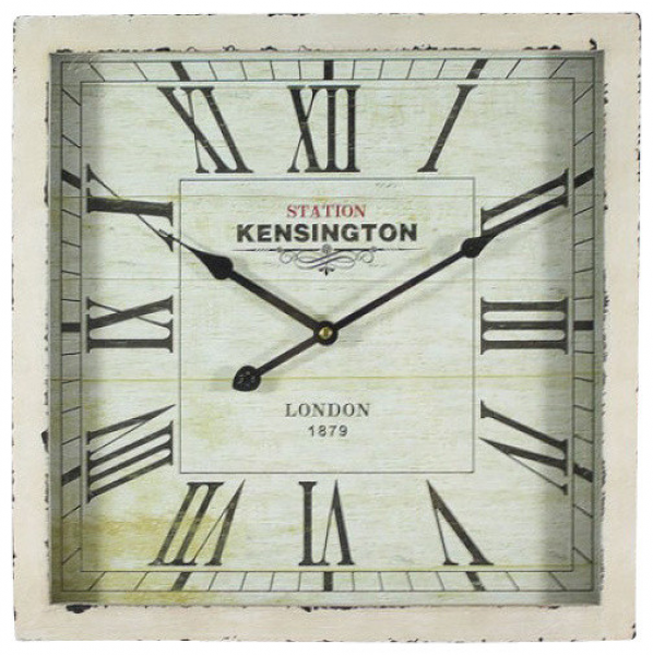 16 in. Square MDF Wall Clock distressed white wooden frame ...