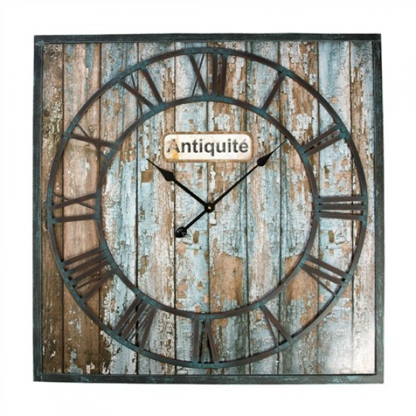 Antiquite Distressed Wood and Metal 80cm Square Wall Clock - Clocks