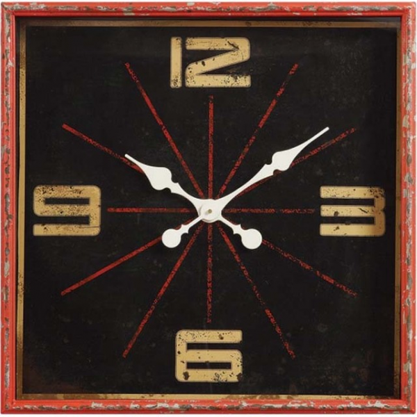 Distressed Red Square Wall Clock - Eclectic - Wall Clocks - atlanta ...