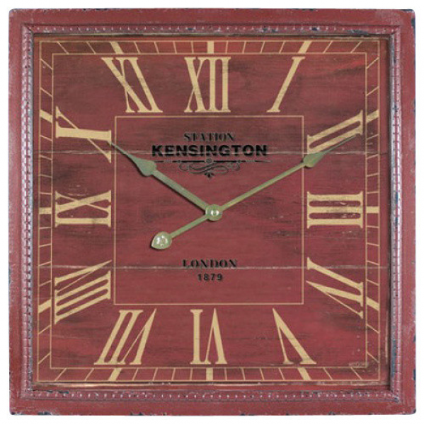 ... Square MDF Wall Clock Distressed Red Wooden Frame transitional-clocks