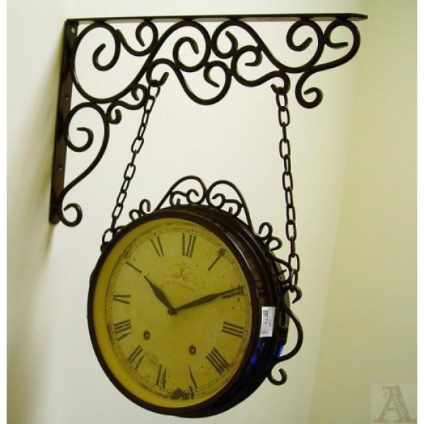 Scroll Hanging Double Sided Antique Style Wall Clock Kitchen & Dining