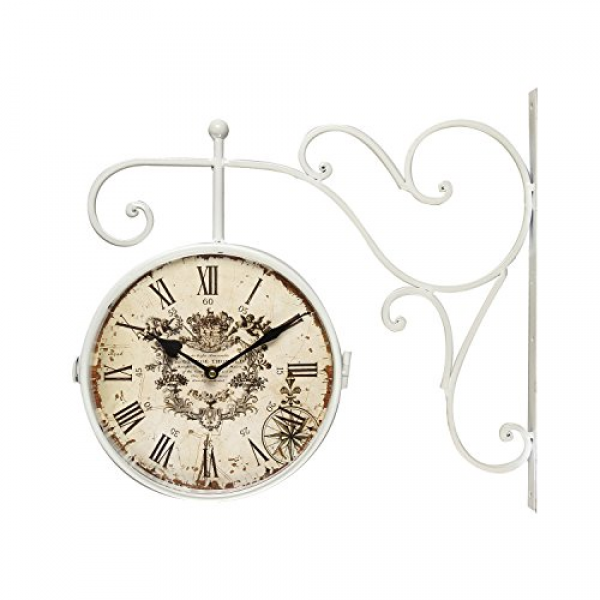 ... Wall Clock With Scroll Wall Mount (Roman Numerals): Antique Wall