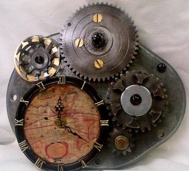 Steampunk Wall Clock-Re-purposed Industrial Gears-Antique World Map ...
