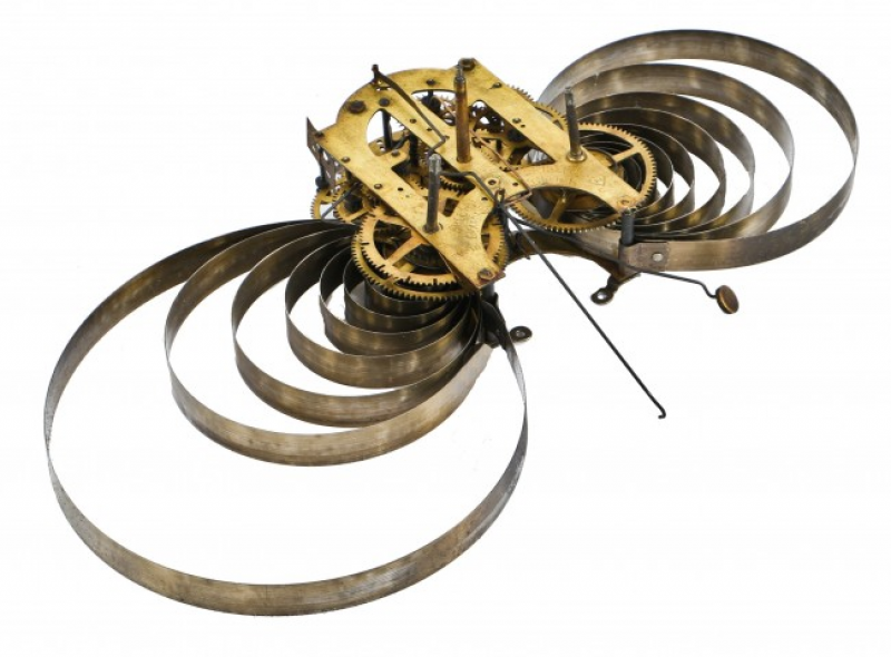 industrial or steampunk brass and steel wind-up wall clock gear ...