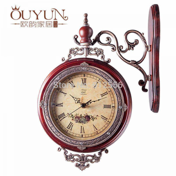 Decorative Wall Clock Solid Wooden Double Sided Wall Clock
