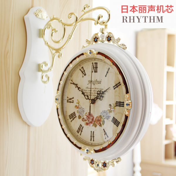European-style double-sided wall clock wood living room rustic dcor ...
