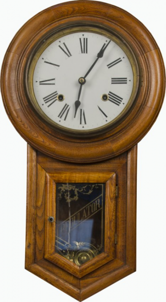 Antique Wall Mount Wooden Regulator Clock : Lot 828