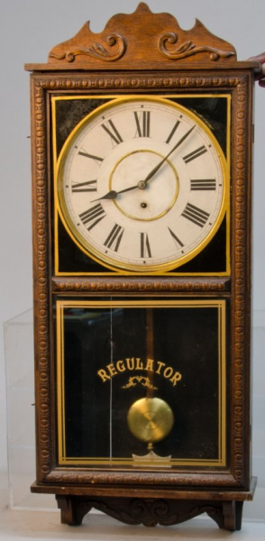 Vintage Waterbury Store Regulator Time Only Wall Clock : Lot 435