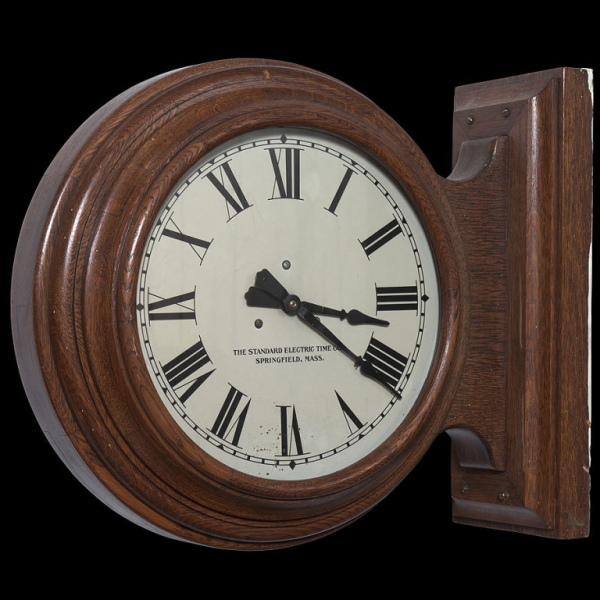Double Sided Wood Case School Clock at 1stdibs
