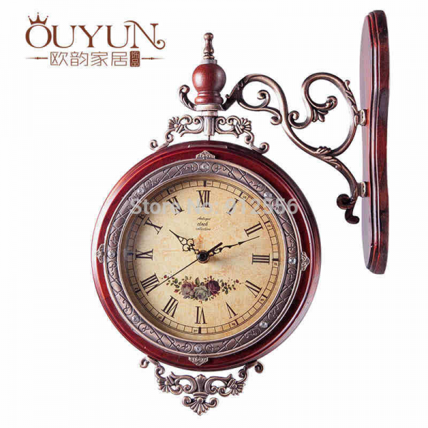 Wooden Wall Clock Vintage Double Sided Wall Clock-in Wall Clocks ...
