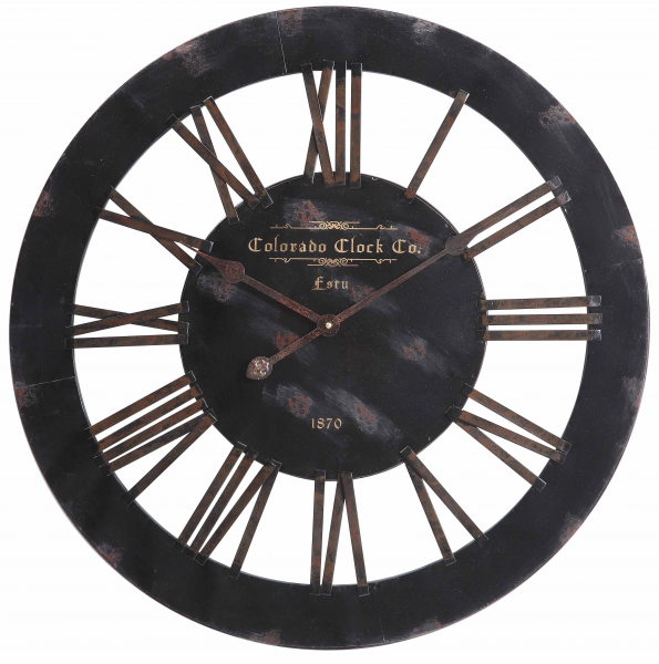 Elko Wall Clock Distressed Black Finish - Large 26.5''