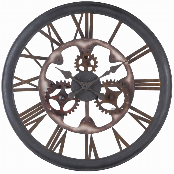 Senna Wall Clock Aged Black Rust Finish - Large 26''