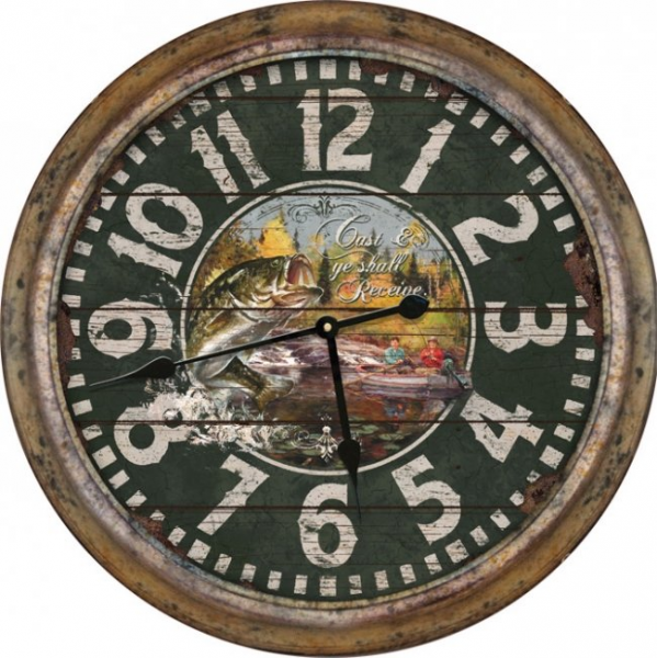 Large 26 diam. Tin Fishing Clock