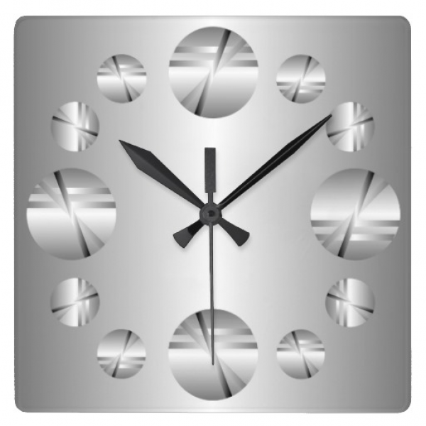 Abstract Silver Metallic Print Wall Clock | Zazzle
