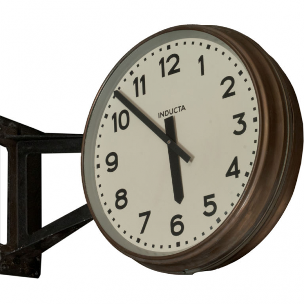 Double Sided Industrial Clock from a Railway Station at 1stdibs