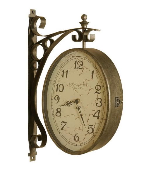 Two Sided Train Station Wall Clock Dual Double Distressed Face Vintage