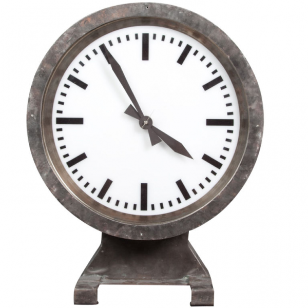 Illuminated Train Station Clock: double sided at 1stdibs