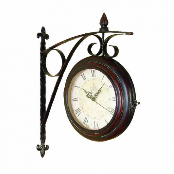 French Country Double Sided Train Station Clock Fleur de Lis Antique ...