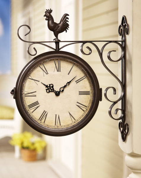 Rooster Double Sided Outdoor Wall Clock