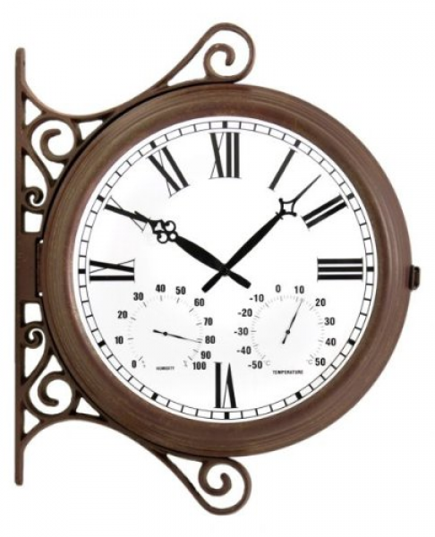 Rustic Outdoor Double-Sided Station Clock |