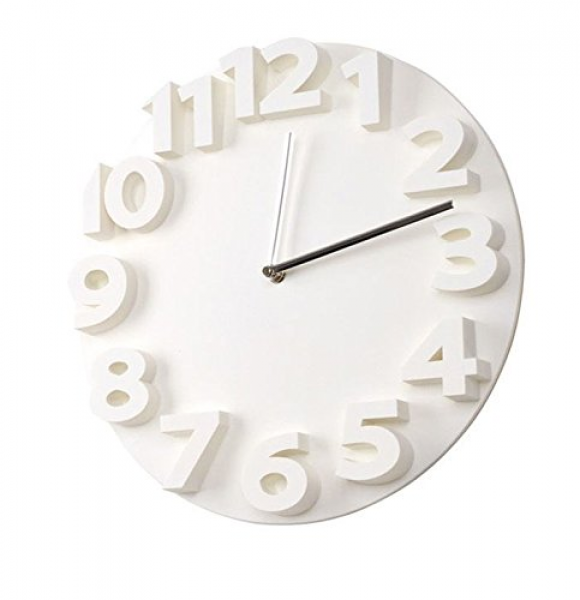 3D Big Digit Modern Contemporary Home Decor Round Wall Clock (white)