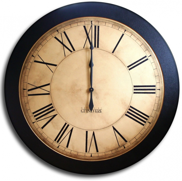 Large Wall Clock 24in Antique Style Big Round Clocks WHITING DISTRESS ...