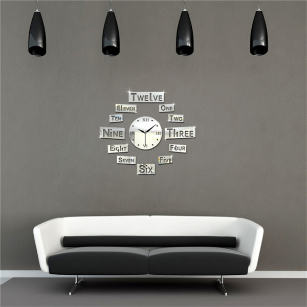 Wall Clock Modern Design English Letters Watch Wall 3d Acrylic Mirrors ...