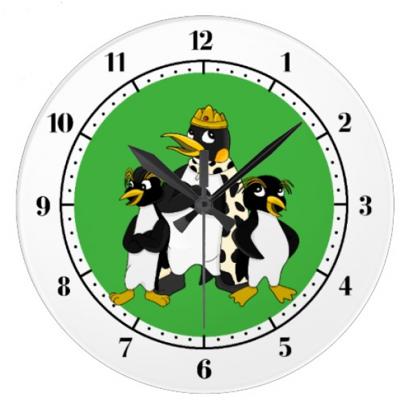 Group of penguins wall clock