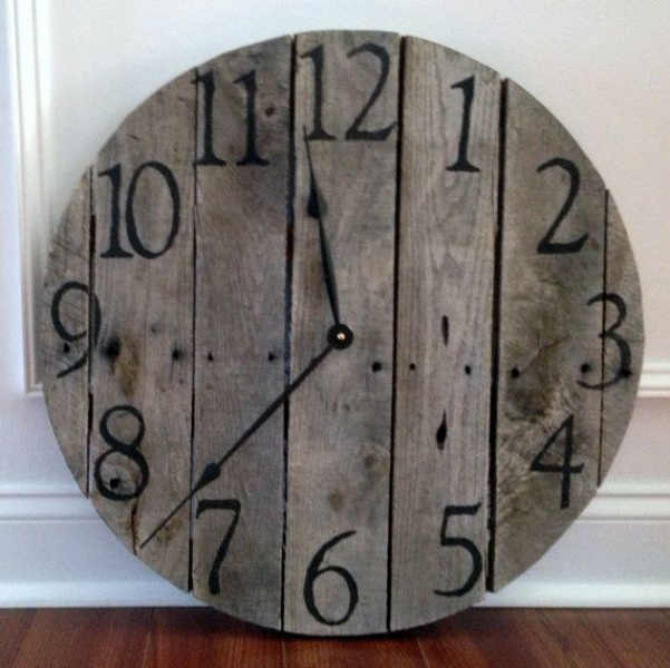 Large Rustic Pallet Wood Wall Clock by TickTockCreations on Etsy