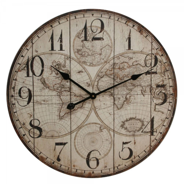 Large Rustic Wall Clock with World Map Design - 60cm Diameter