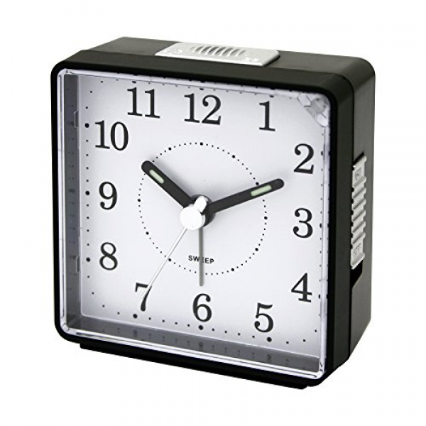 Impecca Non Ticking Compact Alarm Clock, Light and Snooze (Black)