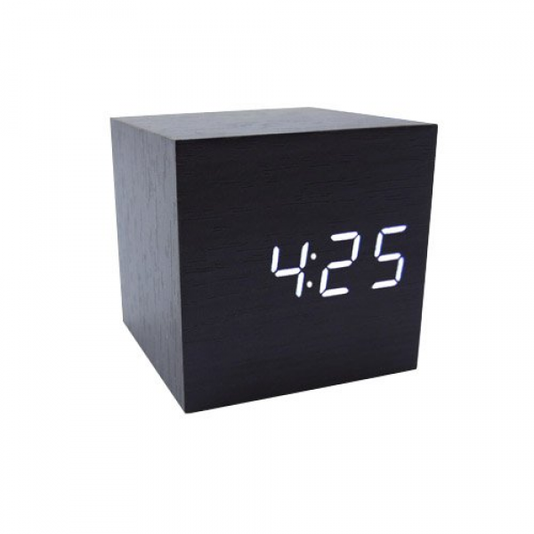 Cube Wood LED Alarm Clock - Time Temperature Date - Sound Control