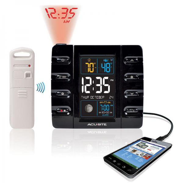 ... 13020 Weather Projection Alarm Clock with Temperature USB | eBay