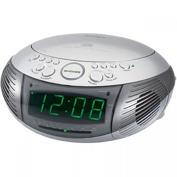 Jensen JCR-332 AM/FM Dual Alarm Clock Radio with Top-loading CD Player ...
