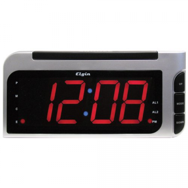 Elgin 2-in. LED Auto Time Set Alarm Clock Reviews