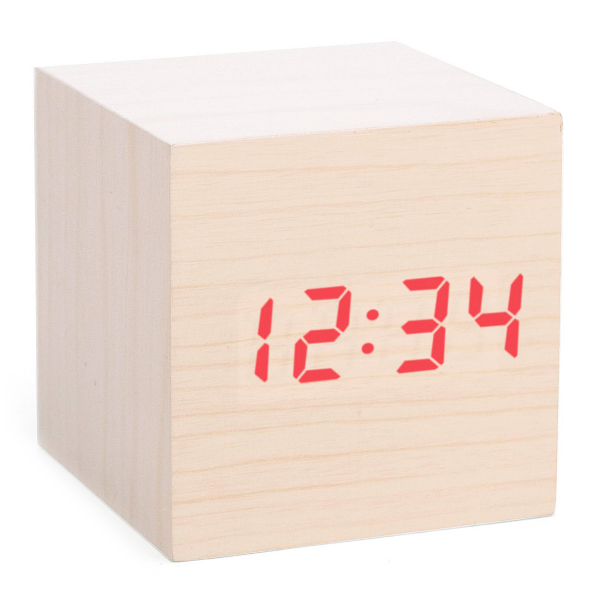 CUBE LED ALARM CLOCK | Wood Block Digital Clock | UncommonGoods