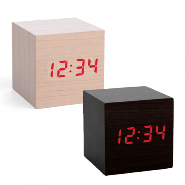 ... clocks are non descript wooden cubes that display the time in red led