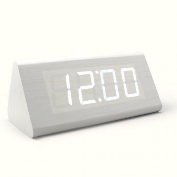 HITOSELLER Wood Grain White LED Alarm Clock - Time Temperature Date ...