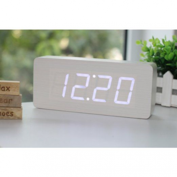 white wood grain digital clock | I want this! | Pinterest