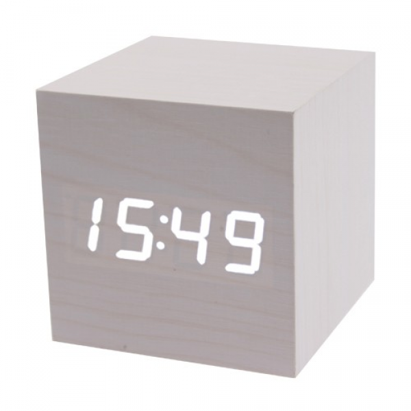 ... White LED Light Alarm Clock with Temperature Display Wood Grain Style