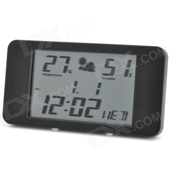 Ultra-Thin Plastic Alarm Clock w/ Thermometer + Humidity Meter - Black ...
